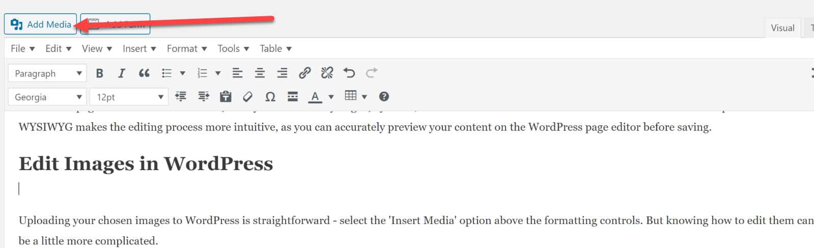 Adding Media and Images to Wordpress Post