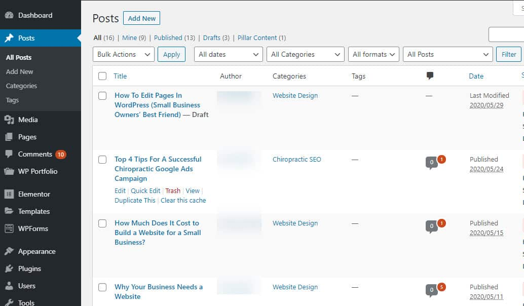 WordPress Dashboard - Posts
